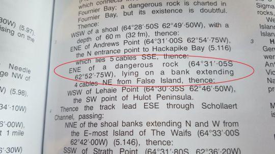 Les Instructions Nautiques mentionnent aussi ce dangereux caillou