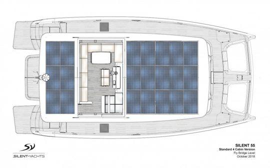 Un rouf recouvert de panneaux solaires.