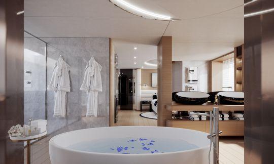 La salle de bain de la cabine propriétaire