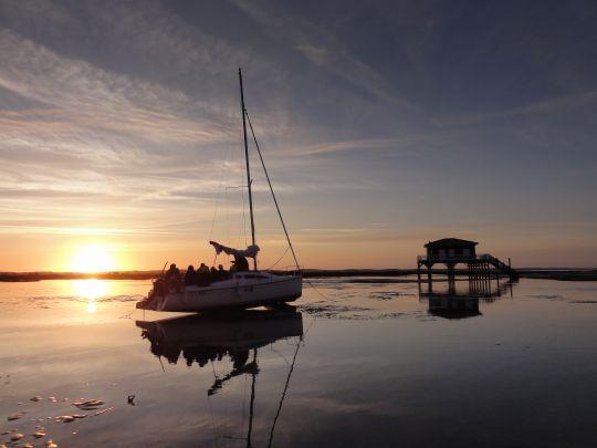Bassin d'Arcachon - Ile aux oiseaux devant les cabanes tchanquées ©Manuel Biarrotte/Aspro-Djinn
