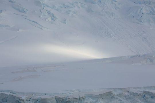 Rayon de soleil sur un glacier.