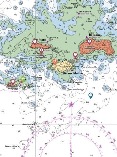 Des icônes de point d'intérêt apparaissent sur la carte du SHOM