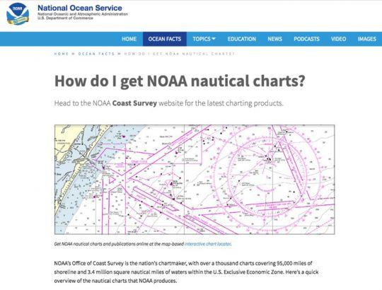 Page d'accueil du site de la NOAA : www.oceanservice.noaa.gov