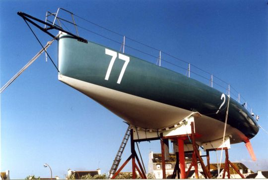 """""""Superbigou"""", under construction on the port of Lesconil, before its launch on February 11, 2000"""