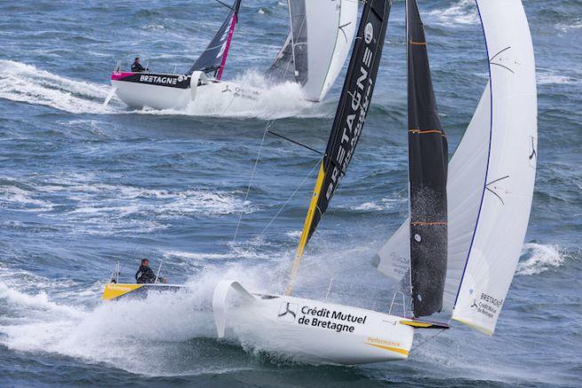 Les Figaro 3 Bretagne CMB, skipper Espoir Tom Laperche, skipper Performance Loïs Berrehar