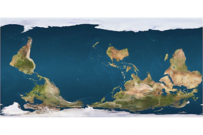 Planisphère de 1979 par l'Australien Stuart Mac-Artur avec le sud en haut