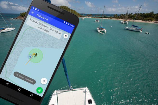 L'application SailGrib AA surveille votre mouillage