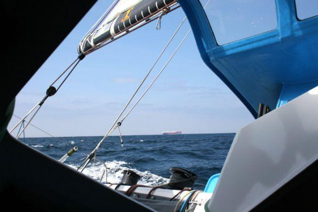 Roulier à l'entrée du golfe de Gascogne lors du Défi Atlantique 2019