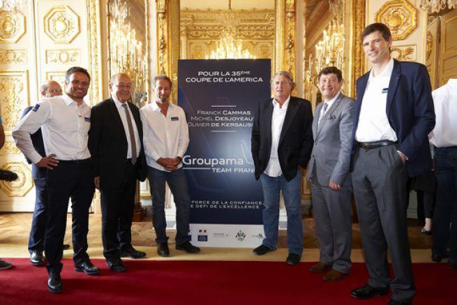 Franck Cammas Jean-Yves Le Drian Ministre de la Défense, Michel Desjoyeaux, Olivier de Kersauson, Patrick Kanner Ministre