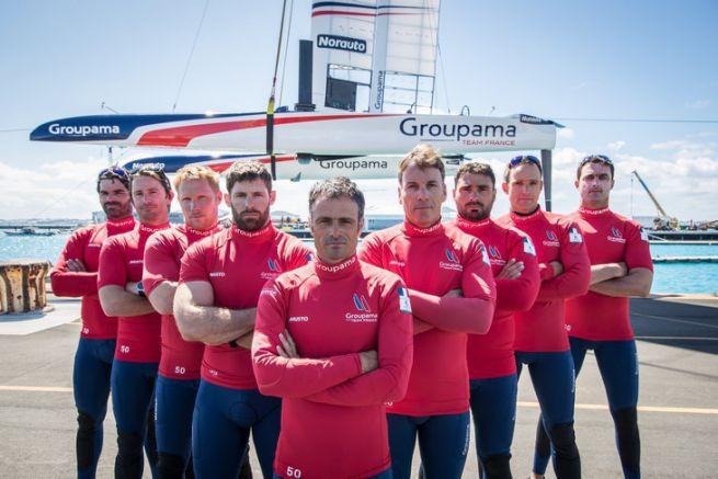 Les marins de l'équipe Groupama Team France sur la Coupe de l'America