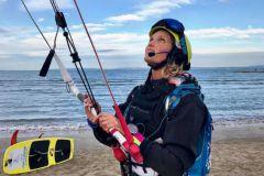 Doris Wetzel le jour de son départ pour la traversée de la Méditerranée en kitesurf
