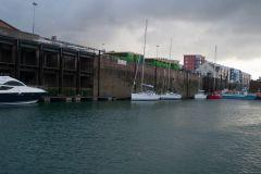 Cabines douanières dans le port de St Hélier