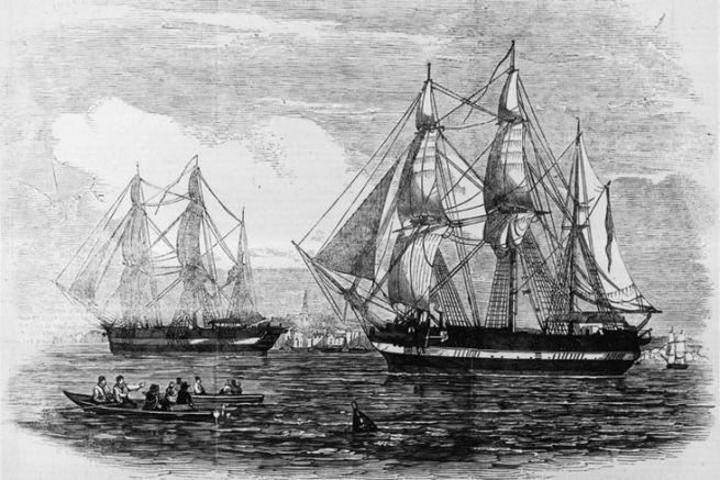 Les HMS Terror et HMS Erebus au départ d'Angleterre