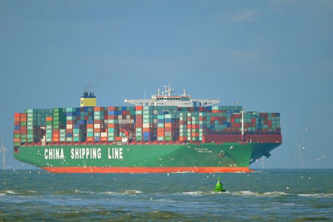 Le CSCL Globe en route vers Zeebruges