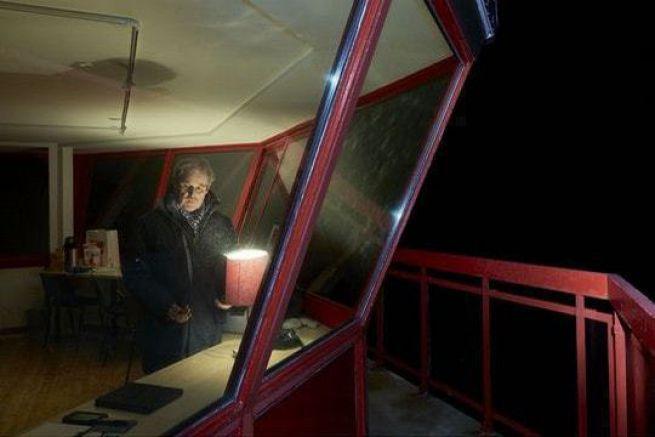 Prise de chrono en haut du phare de Créac'h pour Spindrift 2