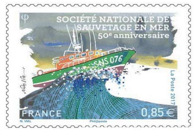 Le timbre aux couleurs de la SNSM