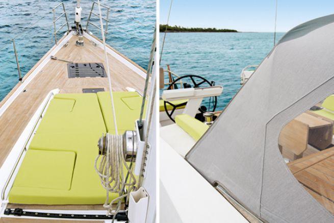 Bains de soleil et fermeture arrière en textiles Sunbrella® - Wauquiez Pilote Saloon