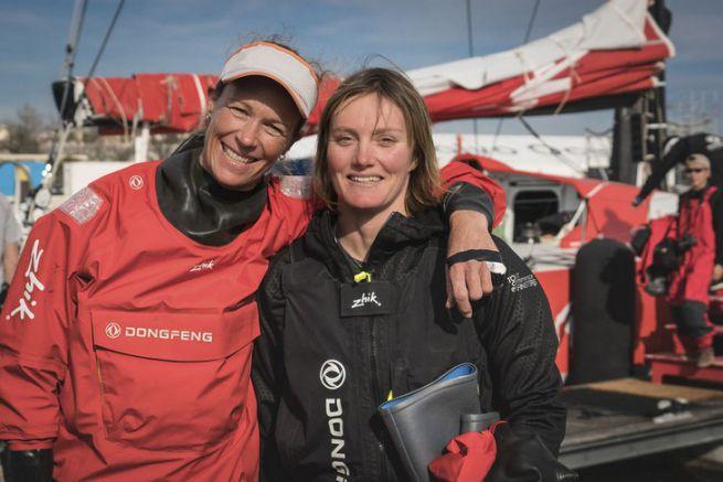Carolijn Brouwer et Marie Riou, les deux navigatrices de l'équipage de Dongfeng Race Team